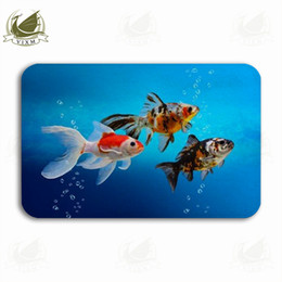 colorful cartoon fish NZ - Vixm Goldfish With Colorful Decorative Fish Tanks Welcome Door Mat Rugs Flannel Anti-slip Entrance Indoor Kitchen Bath Carpet