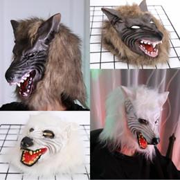 Masks Faces Australia - Halloween Party Monster headgear Mask Scary Wolf Head Full Face Horror Masquerade Masks Halloween Horror Cosplay mask