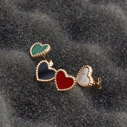 Wholesale black gold lace earrings resale online - Korean version of the small lace cute heart love red rose gold ladies earrings titanium steel plated K color gold
