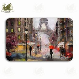 view light Australia - Vixm Oil Painting - Street View Under The Eiffel Tower In Paris Welcome Door Mat Rugs Flannel Anti-slip Entrance Indoor Kitchen Bath Carpet