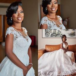 White Wedding Gowns Australia - New Designer White Lace Wedding Dresses A Line Jewel Cap Sleeve Detachable Train Cheap Wedding Gowns Bridal Dresses Custom Made Brautkleider