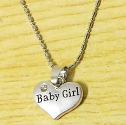$enCountryForm.capitalKeyWord Canada - 10pc lot hot sale new arrival Crystal Heart Necklace For Baby Girl First Infant Home Little Girl Birhday Jewelry Jewelry Gift drop shipping