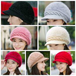 Women Warm Winter Faux Rabbit Fur Knit Beret Hat with Flower Cabbie Cap Fashion