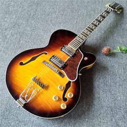 China Electric Guitar String Australia - Hollow body electric guitar 6 strings with gold pickups made in China