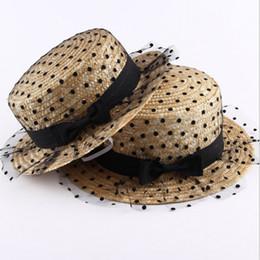 Summer Fashion Flat Top Sun Hats For Women Dot Bow Lace Yarn Shade Beach Hat  Tourism Lady Boater Cap Femme Panama Straw Sun Hat 51b1fc36e8cc