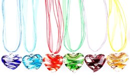 Chinese  QianBei Wholesale 6pcs lot Multicolor Fantastic Heart murano Lampwork Glass Pendant necklaces Jewelry Accessory handmade Craft Jewelry manufacturers