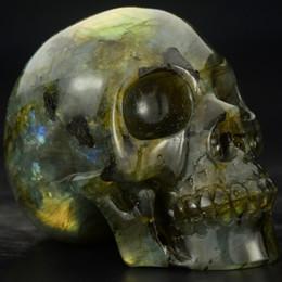 Reiki Healing Wholesalers Australia - 2 INCHES Hand carved labradorite skull, shine gemstone human alien head for healing Reiki Halloween gifts