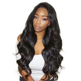 Large Sized Wigs NZ - Popular Big Body Wave Human Hair Wigs Bleached Knots Full Lace Wigs Brazilian Malaysian Medium Size Swiss Lace Cap Lace Front Wigs
