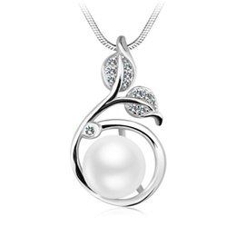 $enCountryForm.capitalKeyWord Australia - 925 silver natural pearl necklace plant flowers and plants leaves pure silver crystal zircon pendant pendant ornaments