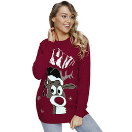 ce6bb6df2e9 Ugly Christmas Sweaters NZ - Women Ugly Christmas Sweater Snowman Reindeer Long  Sleeves Pull Femme Hiver