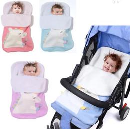 Nursery blaNket online shopping - 70x40 cm Baby Unicorn Sleeping Bag Crochet Blankets Cocoon Stroller Blanket Knitted Strollers Nursery Sleeping Bags KKA6132
