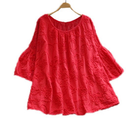 cotton babydoll 2019 - Red White Babydoll Top Flower Embroidery Loose Cotton Shirts For Women Girls Three Quarter Sleeve Sweet Floral Blouses c