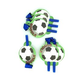 theme party supplies wholesale 2019 - 12PCS Cartoon Football Theme Blow out Party Noise Maker Baby Happy Birthday Party Supplies Toys Boy Favor Horn for kids