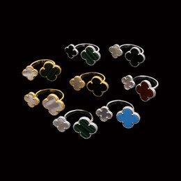 Top for girls design online shopping - 2018 Top brass material paris design ring cm flower cm nature stone and shell decorate free size ring for women and girl friend jewelr