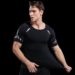 Wholesale Quick Dry Running Shirt Men Compression Sport Fitness Running T Shirt Mesh basketball Body Building Clothes GYM T Shirt