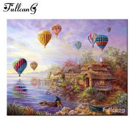 Discount diy balloons - FULLCANG Hot air balloon hut mosaic painting diy diamond painting cross stitch full square diamond embroidery scenery E4
