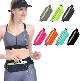 Wholesale 7 colors Outdoor Running Waist Bag Waterproof Mobile Phone Holder case Jogging Belt Belly Bag Women Gym Fitness Bag GGA892