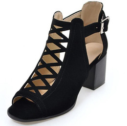 $enCountryForm.capitalKeyWord UK - 2018 new high-heeled shoes with mesh shape brand shoe suede leather fish mouth sandals women sandals