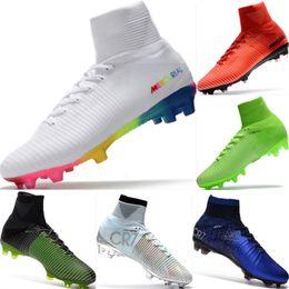 Con caja Zapatos de fútbol para niños Mercurial CR7 Superfly V FG Botas de fútbol  para ee01297c0278f