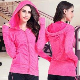 fitness Yoga Giacche da ginnastica Donna Gym Wear Maniche lunghe Cappotto con cappuccio Abbigliamento da allenamento a compressione per Sportswear manica lunga in Offerta