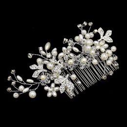 Discount european wedding hair accessories - 2018 New European Design Leaves Wedding Hair Accessories Pearl Crystal Flower Bridal Hair Comb Wedding Jewelry