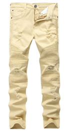 China Wholesale-Top Quality Khaki Biker Jeans Pleated Design Mens Skinny slim Stretch Denim pants 2016 New Arrival Hip-Hop Street Ripped Jeans cheap new style skinny jean men suppliers