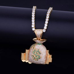 white money bag NZ - Money Bag Stack Iced Cash Coins Pendant Necklace With tennis Chain Charm Gold Silver Cubic Zircon Men's Hip Hop Jewelry For Gift