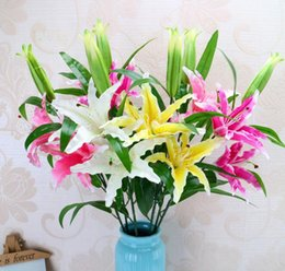 fresh flower wholesalers Australia - PVC Perfume Lily Three Heads Artificial Flowers Fresh Style Desk Ornaments Home Decor Wedding Romantic Props