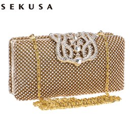 Wholesale SEKUSA crown diamonds women evening bags rhinestones small day clutches purse handbags with silver gold black evening bag Y18103004