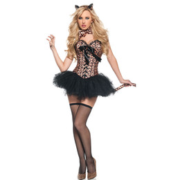 Wholesale leopard sexy costume for sale - Group buy Halloween A Whole Set Of Leopard Role playing Costumes Sexy Leopard Suit Carnival Party Clothing Lace Cross Strap Sexy Suit