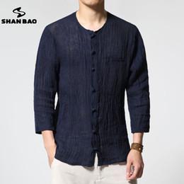 $enCountryForm.capitalKeyWord Canada - SHAN BAO brand autumn new men's thin section pure color linen shirt luxury high quality fold seven sleeves shirt casual men