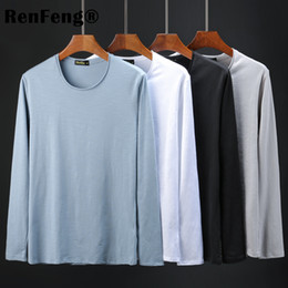man t shirt underwear cotton 2019 - Bamboo cotton autumn long-sleeved t-shirt men's O-neck solid color white bottoming shirt men's clothing Unders