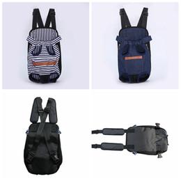 Canvas denim bag online shopping - Pet Dog Cats Striped Carrier Backpack Canvas Denim Front Pocket Carrier Outdoor Travel Breathable Shoulder Bags AAA894