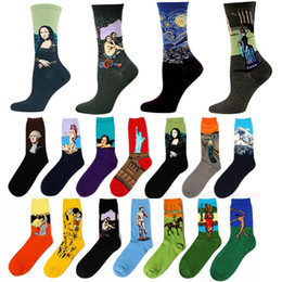 Discount sox socks - Wholesale-Fashion Art Cotton Crew Printed Socks Painting Character Pattern Women Men Harajuku Design Sox Calcetine Gogh