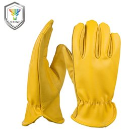Leather Gloves For Men Australia - OZERO New Cowhide Men's Work Driver Gloves Leather Security Protection Wear Safety Workers Moto Warm Gloves For Men 8007 D18110705