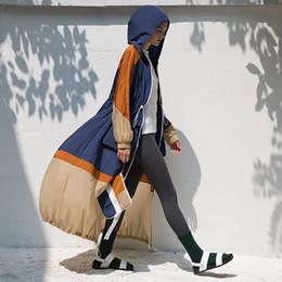 Design Women Hooded Coat Canada - CH312 Original Design Autumn 2017 color patchwork loose casual hooded adjustable waist zipper long sleeve maxi trench coat women