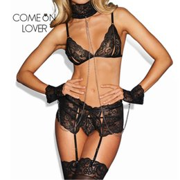 Comeonlover Erotic Lingerie Set Sexy Strap Lace Open Bust  Bra+G-string+Handcuff Temptation Sexiest Sleepwear Underwear RI80638 f677a7718