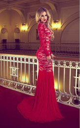 transparent sleeve prom dresses NZ - Fashion Court Train Prom Dresses Red Lace Long Transparent Sleeve Backless Mermaid Evening Dresses 2018 Middle East