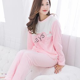 7d18d66a51 fashion Women Pajama Sets Coral Fleece Pajamas Women Sets Thickening casual  homeWear Suit Warm Thick Flannel Set for Women Sleep D18110502