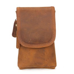 $enCountryForm.capitalKeyWord NZ - Genuine Leather Cell Mobile Phone Case Hook Bags Cigarette Hip Belt Pouch Purse Men Fanny Waist Pack Bag