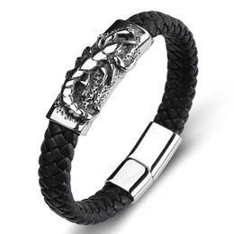 $enCountryForm.capitalKeyWord UK - 2018 Men Bracelet Punk Scorpion Bangle Black Weaving Charm Rope Chain Leather Bracelet Stainless Steel Fashion Bracelets Gift