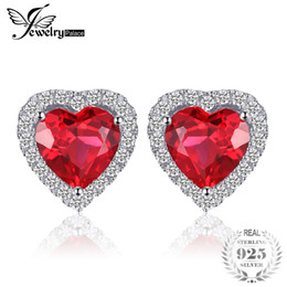 Wedding pigeons online shopping - JewelryPalace Heart ct Pigeon Blood Red Ruby Stud Earrings Solid Sterling Silver Jewelry For Women Fashion Wedding Earrings