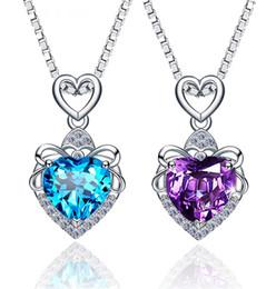 Navy Pendants NZ - S925 Pure Silver Ocean Heart Necklace Navy Crystal Pendant Korean Silver Decoration Wedding Leisure Necklace Pendant Birthday Gift