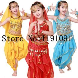 Wear Bracelet Australia - Child belly dance set dance clothes india performance wear 3pcs-5pcs Top&Pant&Belt&Headband&Bracelet,4 colors.VL-143