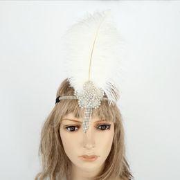 Crystal Heads Australia - Luxurious Crystal Headband Woman White Feather Flapper Headdress Dance Party Headpieces Girl Sequin Head Band Feather Flapper Headdress