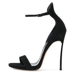 Envío gratis sandalias de las mujeres de moda Negro tan gamuza de cuero  real Tobillo-Abrigo strass Rhinestone plataforma zapatos de tacones altos  bombas ... cda9628804aa