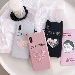 Case Iphone Black Glitter NZ - Gift Cute 3D Silicone Cartoon Cat Pink Black Glitter Soft Phone Case Cover Coque Fundas For iPhone heart phone case new