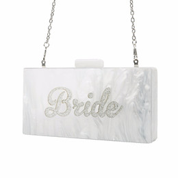 box handbags NZ - Pearl White with Silver Glitter Name Bride Acrylic Box Clutches Bags Ladies Evening Handbags Fashion Handmade Claps Beach Clutch Y18110101