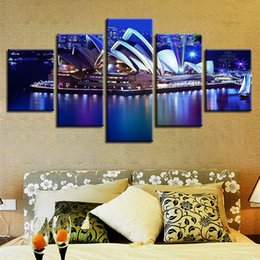 $enCountryForm.capitalKeyWord Australia - Modular Wall Art Poster Home Decor Living Room Pictures 5 Pieces Sydney Opera House Nightscape Canvas HD Print Painting Framed