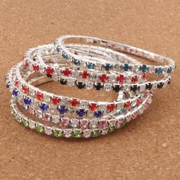 Venta caliente 16 colores 3 longitud colorida primavera 1-Row 2-Row Rhinestone Crystal pulseras tenis venta caliente joyería moda en venta